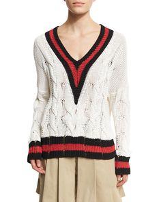 Emma Varsity-Stripe Cable Knit Sweater, White/Red/Black
