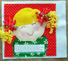 "Here is Miss Curly Locks- a cute #quiet book page in a ""Rhyme Time."" Her head is a pocket for holding cute hair clips to decorate her curly pig tails. Lindy J Design on etsy."