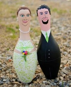 Bowling pins - painted to match bride and groom - can be ordered from happysalez2u on Etsy.
