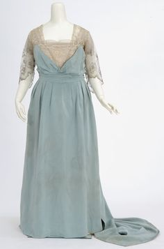Circa 1915 Pale blue faille gown. Made by dressmaker Madame Rose H. Boyd, Minneapolis, Minnesota.
