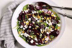 Roasted Beet, Chèvre, Spinach Salad with Pistachios and Mint