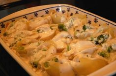 Chicken and Broccoli Stuffed Shells w/ Alfredo Sauce.  Simple and delicious!  Adding to the rotation.