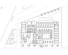 Gallery of Hospitals and Health Centers: 50 Floor Plan Examples - 23 Healthcare Architecture, Architecture Plan, Healthcare Design, Rehabilitation Center Architecture, Hospital Floor Plan, Floor Plan Symbols, Heart Hospital, Hospital Design, Health Center