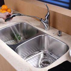 """Kraus KBU22 32"""" Undermount 50/50 Double Bowl 16 Gauge Stainless Steel Kitchen Sink"""