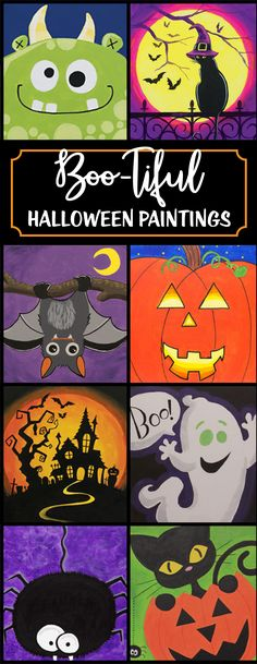 Halloween canvas painting ideas for all ages! Pumpkin Canvas Painting, Halloween Canvas Paintings, Halloween Painting, Autumn Painting, Painting For Kids, Diy Painting, Halloween Crafts, Art For Kids, Painting Classes