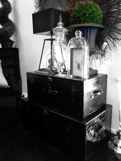 Vintage Trunks, Industrial, Masculine, Gloss Black! Harolds Finishing Touches!