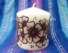 I'll be honest - I hadn't realised painting henna onto candles would be so difficult. The curved shape and slippery surface means that . Henna Candles, Diy Candles, Pillar Candles, Diy And Crafts, Paper Crafts, Art Festival, Henna Designs, Candle Making, Craft Fairs