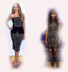 black white printed dress, Sofia Vergara VS Naomi Campbell fashion diva who-wore-it-better celeb celebrity