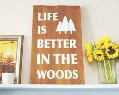 Woods Rustic Wooden Sign