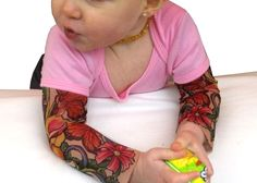 One-piece shirt for your wild toddler! Short-sleeved baby one-piece shirt_enhanced with the trademark Wild Rose sheer mesh sleeves with designer tattoo artwork. Premium tattoo sleeves printed in Canada. Cute Baby Girl Outfits, Cute Baby Clothes, Kids Outfits, Girls With Sleeve Tattoos, Girl Tattoos, Baby Shirts, Kids Shirts, Baby Girl Fashion, Kids Fashion