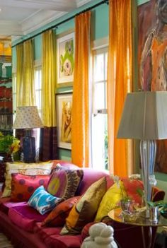 ⋴⍕ Boho Decor Bliss ⍕⋼ bright gypsy color hippie bohemian mixed pattern home decorating ideas - bright colors
