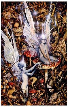 """If you believe that there is more to the woods than just trees and leaves, then this Fairy art poster is for you! An illustration by Brian Froud and Alan Lee, both well-known British friends of the """"l"""