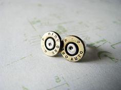 380 Auto Two Tone Bullet Earrings by bluesparrowtrinkets on Etsy, $15.00