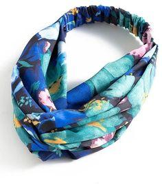 Shein Watercolor Flower Print Twist Headband