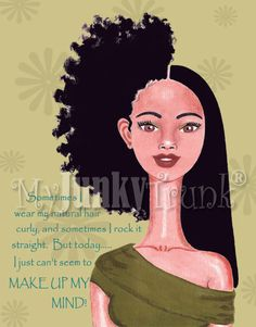 SALE- Indecision--- African American Natural Hair Afro Print