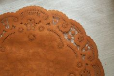 8 Fancy French Lace RUST Hand Dyed Colored Paper by ThePaperDoily, $11.00