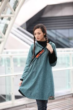 Comfortable Lake Green Chinese Ethnic Thin by Sophiaclothing, $127.99   Love this coat...how hard can it be?