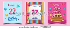 Vector Sets of 22 Years Birthday invitation, greeting card Design, with confetti and balloons, birthday cake, Colorful Vector template Elements for your Birthday Celebration Party.