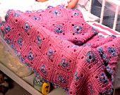 Instant Download PDF  Vintage Knitting Pattern to make Baby Granny  Afghan Blanket Throw Afghan Blanket Picnic Rug Granny Squares Heirloom