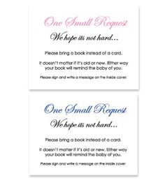Free Printable Baby Shower Bring A Book Instead Of A Card Offered In  Several Themed Designs. Baby Theme Card   Just Print, Cut And Hand Out At  The Baby ...