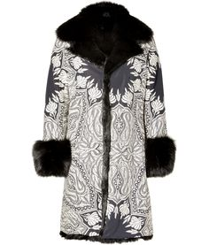 DESIGNER:  ETRO SEE DETAILS HERE: White/Black Embroidered Fox Fur Lined Coat
