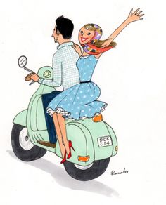 My Little Paris, Kanako illustration Vespa Illustration, Manga Illustration, Illustrations, Couple Illustration, My Little Paris, Photo Vintage, Pretty Drawings, Girly, Jolie Photo