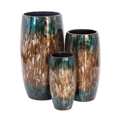 Aspire Home Accents 63987 Tall Colorful Metal Planters (Set of 3)
