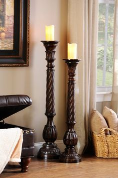 The Twisted Candle Holder, 42 in. has an intriguing spiral design with floral hints to create an elegant platform on which you can light your favorite candles. Floor Candle Holders Tall, Wood Candle Holders, Candle Stands, Kirkland Home Decor, Floor Lamp With Shelves, Floor Lamps, Lampe Decoration, Tuscan Decorating, Home Interior