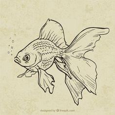 Fish Drawings, Pencil Art Drawings, Cool Art Drawings, Art Drawings Sketches, Tattoo Sketches, Simple Animal Drawings, Arte Inspo, Drawn Fish, Arte Sketchbook