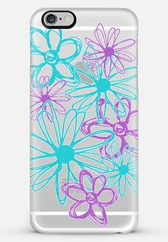 Buy turquoise and purple flowers-transparent iPhone 6 Plus Classic Snap Case by Sylvia Cook at CASETiFY.