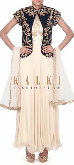 Buy this Beige anarkali suit matched with embroidered jacket only on Kalki Gown With Jacket, Silk Jacket, Jacket Dress, Indian Party Wear, Indian Wear, Indian Suits, Anarkali Dress, Anarkali Suits, Dress Outfits