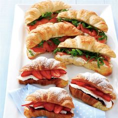 Sweet & savory filled croissants recipe Woolworths – Famous Last Words Croissants, Party Sandwiches, Food Platters, Cooking Recipes, Healthy Recipes, Cafe Food, Food Food, Aesthetic Food, Croissant Sandwich