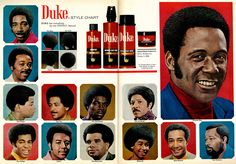 https://flic.kr/p/E62pBX | 1972 Hair Grooming Ad, Duke Hair Products for Men, with Style Chart & Richard Roundtree (2-page advert) | Vintage 1970s two-page hair care and grooming advert for men; featured items include Duke Shampoo, Natural Easy Comb, Natural Hair Sheen, and Hair Conditioner. Hair style chart for black men is included. Some of the '70s hair styles pictured on the chart include The Professional, The Duke, The Prince, The Flattop, Watusi, The Executive, Private Eye, The…