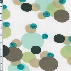 White background with a bubble print in sage, turquoise, taupe and black. A crisp poplin weave, light-midweight, semi-opaque, no drape, firm hand cotton. Suitable for tailored shirtings and dresses, use a lining if full opacity is desired