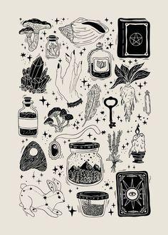 Trendy Line Art Drawings Flowers Ink Ideas Flash Art Tattoos, Body Art Tattoos, Tatoos, Tattoo Flash Sheet, Sleeve Tattoos, Kritzelei Tattoo, Tattoo Drawings, Wicca Tattoo, Witchcraft Tattoos