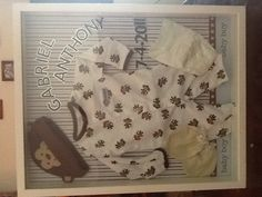 Shadow box, scrapbook paper, babies first outfit, first diaper size, mittens, sticky letters Our Baby, Baby Boy, Baby First Outfit, Scrapbook Paper, Scrapbooking, Diaper Sizes, Baby Family, Baby Crafts, Keepsakes