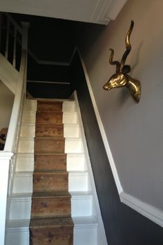 399422a50a1 Hallway in Dulux Bowler Hat   Crown Soft Shadow. Stripped staircase