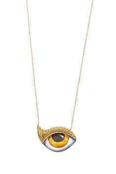 "New ""Tu Es Partout"": Studio 54 Yellow gold necklace with yellow eye and canary Diamonds www.lito-jewelry.com"