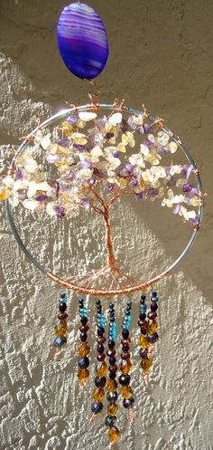Tree of LIfe Sun Catcher with Agate Citrine and by CatchingColor, $60.00