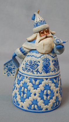 Charming Vintage Jim Shore Blue Toile or Blue Quilt Santa Bell Christmas Ornament
