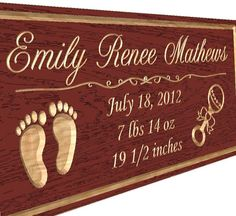 Red Oak Sign Baby Name Carved Wooden Sign Custom by TKWoodcrafts, $27.95