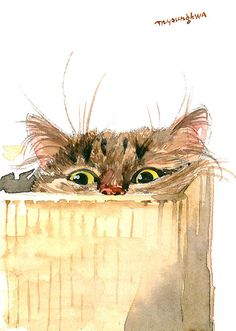 ACEO Limited Edition 5/25- Cat in a box, Gift idea for cat lovers, Art print of an original watercolor painting by Anna Lee, Home deco idea