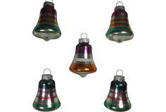Multi-Stripe Bell Ornaments, S/5