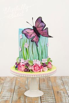 Beautiful Butterfly Garden Birthday Cake by Blissfully Sweet Beautiful Cake Pictures, Beautiful Cakes, Amazing Cakes, Pretty Cakes, Cute Cakes, Fancy Cakes, Garden Birthday Cake, Cake Birthday, 50th Birthday