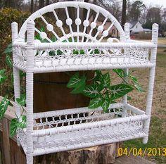 Vintage Wooden White Wicker /Rattan  2 - Tier  Organizing Shelf Unit - TheKrackerjackBox