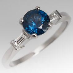 Montana Blue Sapphire Engagement Ring Platinum Baguette Diamonds
