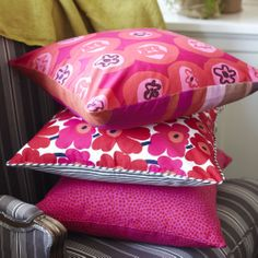 Colourful cushions can brighten any room. Plus they can change the look of a room for not a large amount of money.  No chintz fabric and BQ Design manufacturer.