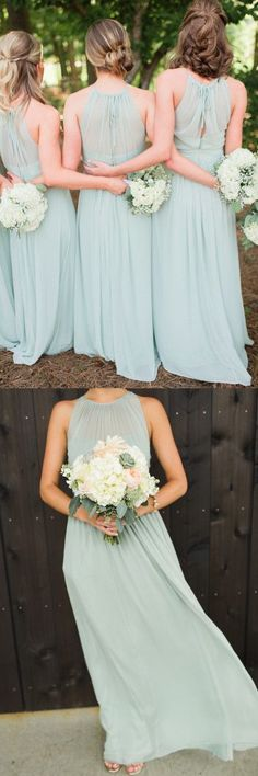 Simple Green Chiffon Bridesmaid Dress, Round Neck Long Bridesmaid Dress 0304 by RosyProm, $133.99 USD