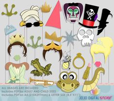 Princess & Frog Photo Booth Props by JoJoDigitalStore on Etsy