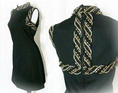 Vintage 60s Black Mini Dress L Woven Metallic Trim at PopFizzVintage, $36.00